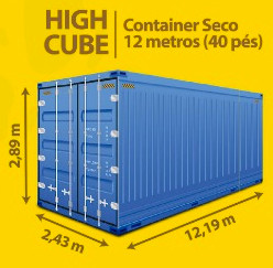 High Cube Container Seco 12 metros